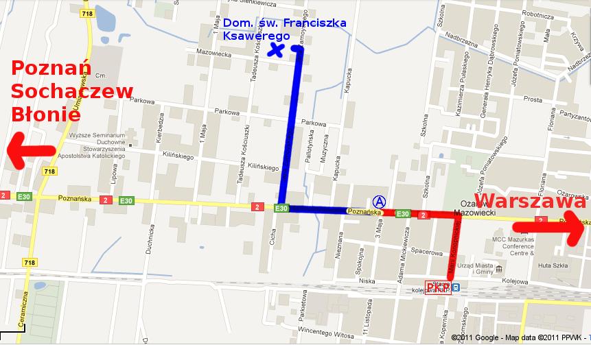 Mapa dojazdu do domu rekolekcyjnego św. Franciszka Ksawerego