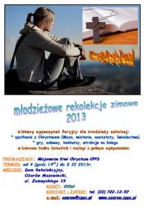 Rekolekcje młodzieżowe - zima 2013 - plakat