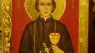 """Ikona św. Kaspra del Bufalo autorstwa A. Ostrowskiej. """" (…)nasze zbawienie nie dokonuje się tylko ze względu na nasze uczynki pobożne, ale dzięki Miłosierdziu Bożemu, które nas zbawiło w Krwi […]"""