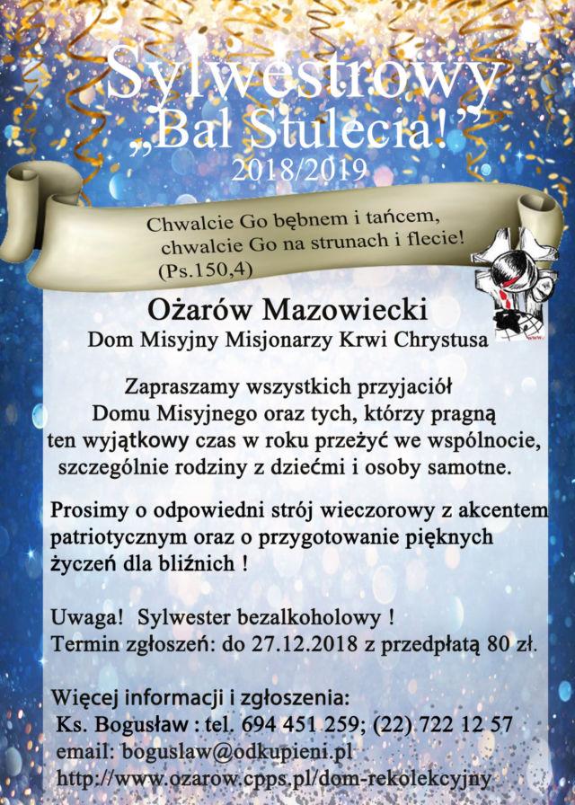 "Sylwester z Panem Bogiem ""Bal Stulecia"" @ Ożarów Maz."